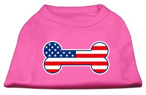 Bone Shaped American Flag Screen Print Shirts Bright Pink S (10)